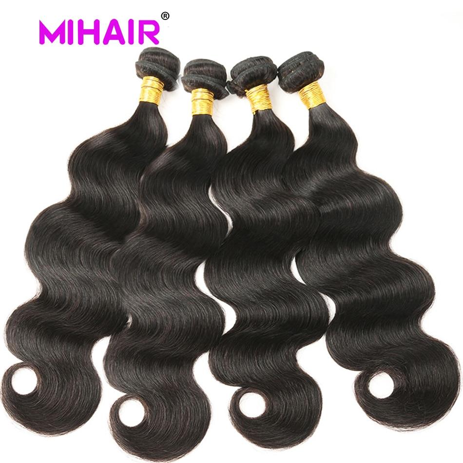 Indisk hårkroppsvåg Human Hair Bundles 1/3/4 Bundles Human Hair - Mänskligt hår (svart) - Foto 5