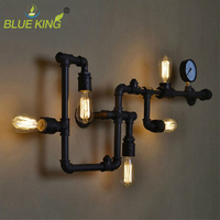 Steam Punk Water Pipe Wall Sconce for Coffee Bar Club Home Living Room Art Wall Fixture Lighting Loft Vintage Personal Wall Lam