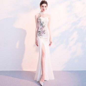 White Mandarin Collar Long Dresses Cheongsam Dress Vestidos Chinos Oriental Qipao Evening Gowns Classic Party Dress Size XS-XXL