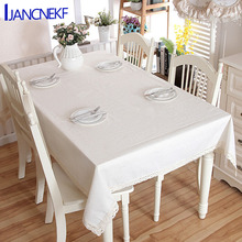 Modern Linen Cotton Solid Color with Lace Side Table Banquet Coffee Tablecloth Home Decoration royal blue decoration
