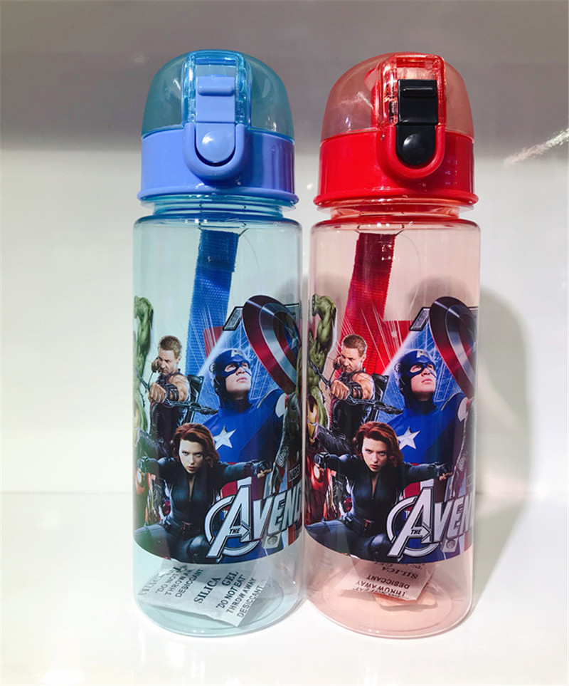 1pc 550ml Cartoon The Avengers Water Bottles Drinking Cup Vacuum Kids Cups Eco-friendly PP Plastic Bottle For Kids Boy Girl