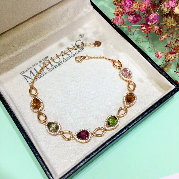 natural Multicolor tourmaline Bracelet Natural gemstone bracelet S925 silver fashion grace water drop women party gift jewelry natural multicolor tourmaline gem bracelet natural gemstone bracelet s925 silver fashion square pincushion women party jewelry
