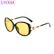 Women Fashion Photochromic Polarized Sunglasses Hollow Out Metal Pearl Temple Design Yellow Lens Driving Night Vision Glasses L3