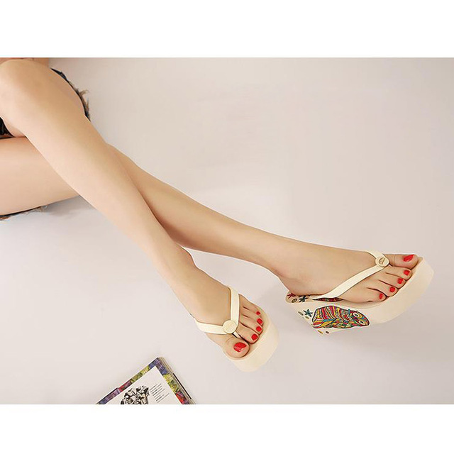 Shoes Women High Heel Sandals Platform Shoes Summer Sandals Non-Slip Beach Flip Flops Women Slippers Wedges Sandalias Femininas