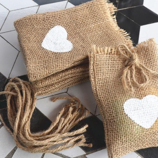 20pcs White Love Heart Print Natural Jute Hessian Burlap Drawstring Bags Rustic Wedding Sack Favors Party