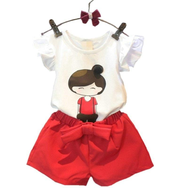 New Summer Girls Clothes Cartoon T-shirts Red Pants Kids Suits for Girls Casual Toddler Children Clothing Set 2 3 4 5 6 7 Year girls in pants third summer