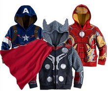 SY084 Children boys hoodies sweatshirt kids spring autumn coat long sleeve outwear with hat Avengers,Iron man Boys kids clothes