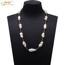 19670619eae8 JYX largo perla barroco collar de perlas del Mar del Sur blanco cultivadas  de agua dulce Perla Barroca collar fiesta AAA 16-32
