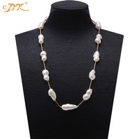 JYX Long Pearl Baroque Pearl Necklace South Sea Fine White Freshwater Cultured Baroque Pearl Necklace Party AAA 16 32