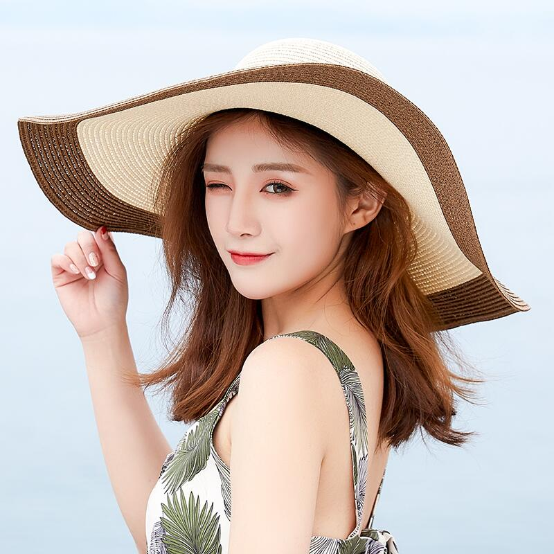 Hot 2019 Fashion Women Beach Hats For Women Summer Straw Hat Beach Cap Sun Hats Sexy Ladies UV Protect Floppy Brim Hat in Women 39 s Sun Hats from Apparel Accessories
