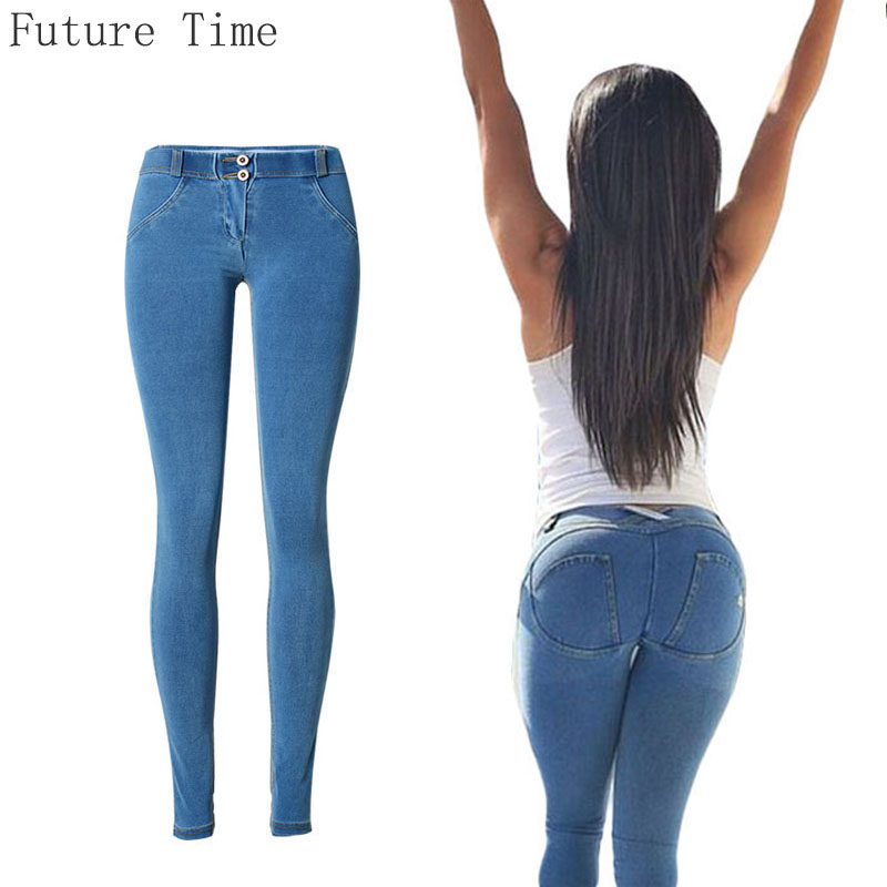 women jeans package hip sexy jeans female low waist stretch long jeans high elastic European style denim pants slim skinny C1373 the explosion of the classic all match solid colored body hip high elastic denim pants feet female winter bag mail