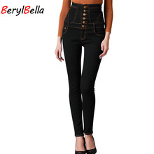 BerylBella Skinny Jeans For Women 2018 Autumn High Waist Denim Jeans Lace Up Slim Casual Pants Women Jeans Mujer Plus Size 6xl(China)
