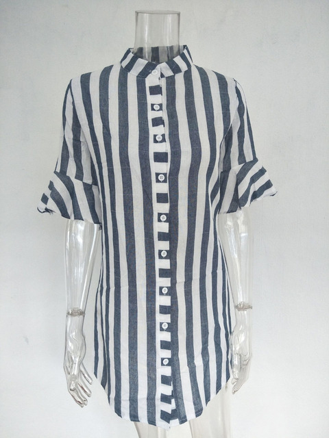 summer Women blouses Horn Sleeve Striped Half Sleeve Tops Long girl Blouse Ladies striped trumpet sleeves female  long shirt top 2