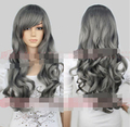 perruque parrucca New Women's Lady Gray Full Wig Wavy Long Hair Wigs Anime Costume Cosplay # Synthetic fibre hair wigs Peluca