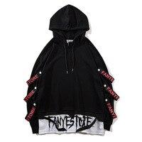 2019 new arrivals fashion men sweatshirts side ribbons streetwear pullover hoodies drop shipping ABZ267