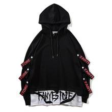 2019 nuevas llegadas moda hombres sudaderas cintas laterales streetwear pullover hoodies drop shipping ABZ267
