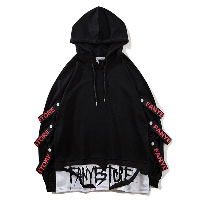 2020 New Arrivals Fashion Men Sweatshirts Side Ribbons Streetwear Pullover Hoodies Drop Shipping ABZ267