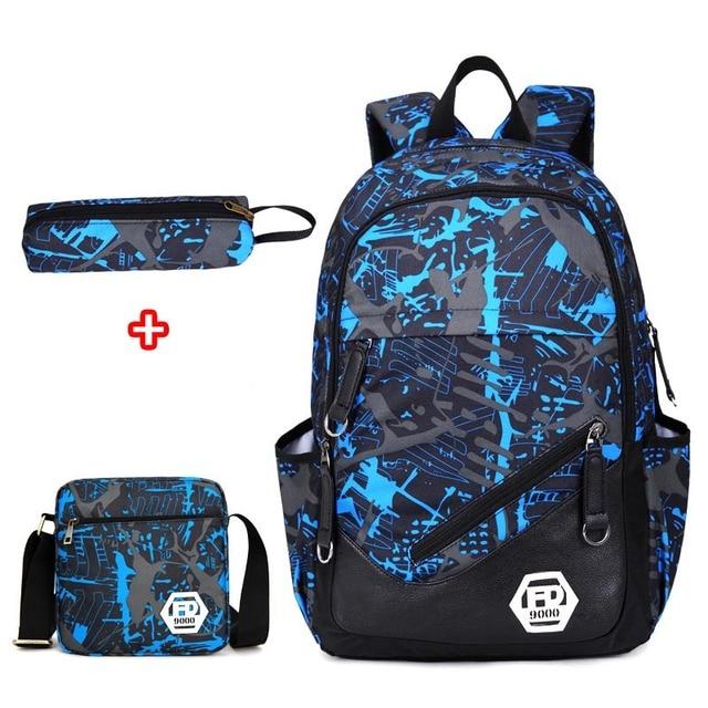 71cd6d8322a Waterdichte oxford stof jongens schooltassen rugzak voor tieners etui blauw  boek tas jongen een schouder schooltas