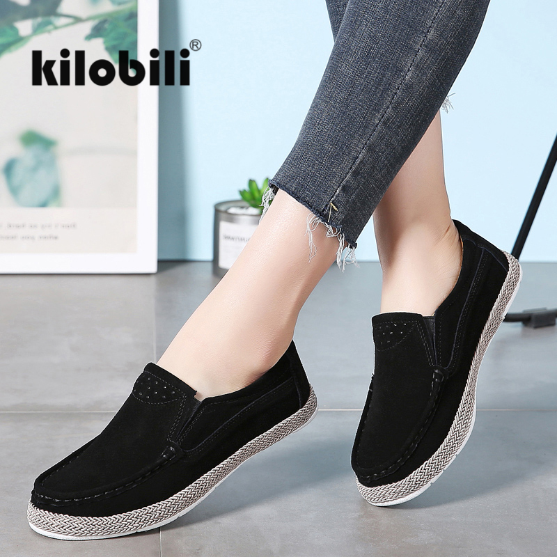 kilobili Spring Women Flats   Leather     Suede   Slip on Loafers Shoes Ladies Ballet Flats Female Boat Oxford Shoes Moccains Autumn