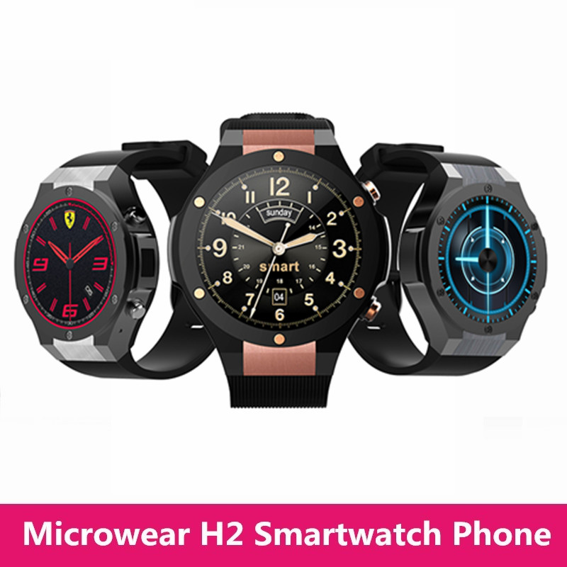 Microwear H2 Bluetooth Smart Watch Phone Android Wear GPS 16GB ROM Wearable Devices Smartwach Waterproof Smartwatch With Camera wlngwear 10pcs u8 smart watch bluetooth mp3 smartwatch for apple android phone watch pk dz09 gt08 wearable devices smart watches