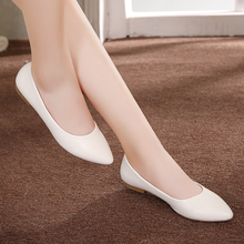 YALNN Women Shoes Flat New Leather Platform Heels Shoes White Women Pointed Toe Leather Girl Shoes