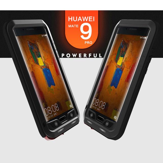 Para huawei mate 9 pro case skin dirtproof amor mei poderosa à prova de choque de alumínio metal case para huawei mate 9 pro case capa