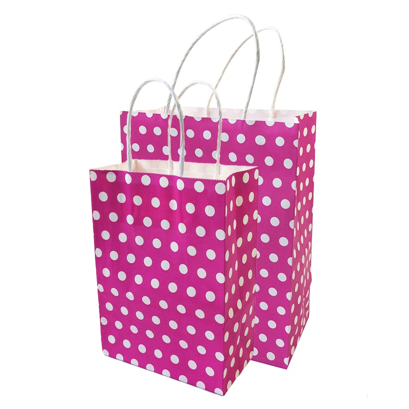 10 Pcs/lot Festival Gift Bag Shopping Bags DIY Multifunction Recyclable Hot Pink Paper Bag With Handles 2 Size Optional