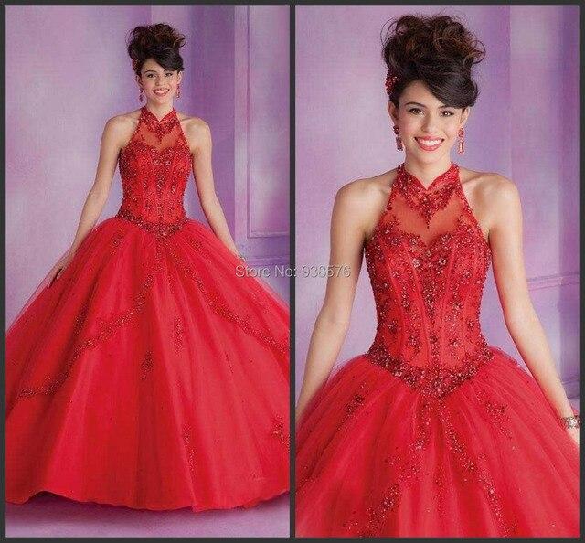 New Vestidos De Quinceaneras 2015 High Collar Organza Red Plus Size