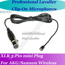 MICWL xlr mini 3Pin Omni- Directivity Microfone Lavalier para Lapel Microphone for AKG Samson Gemini Wireless A6T-3P micwl me2 pro microfone lavalier para lapel microphone for akg samson gemini wireless xlr mini 3 pin
