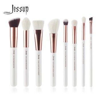 Jessup Inci Beyaz/Gül Altın Profesyonel Makyaj Fırça Seti makyaj Fırça Araçları kiti Tampon Boya Yanak Vurgulamak Shader güzellik
