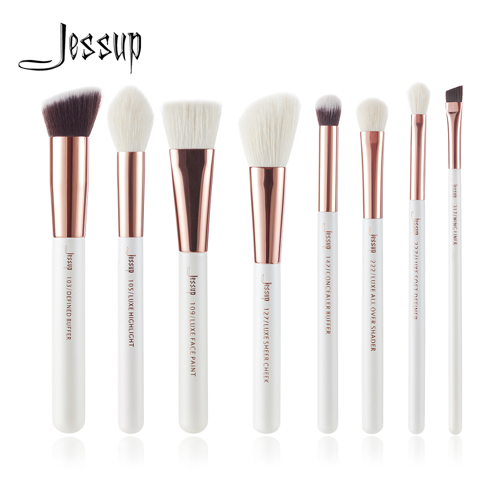 Jessup Pearl White/ Rose Gold Professional Makeup Brushes Set Make up Brush Tools kit Buffer Paint Cheek Highlight Shader beauty msq 10pcs rose gold balck professional makeup brushes set powder foundation concealer cheek shader make up tools kit