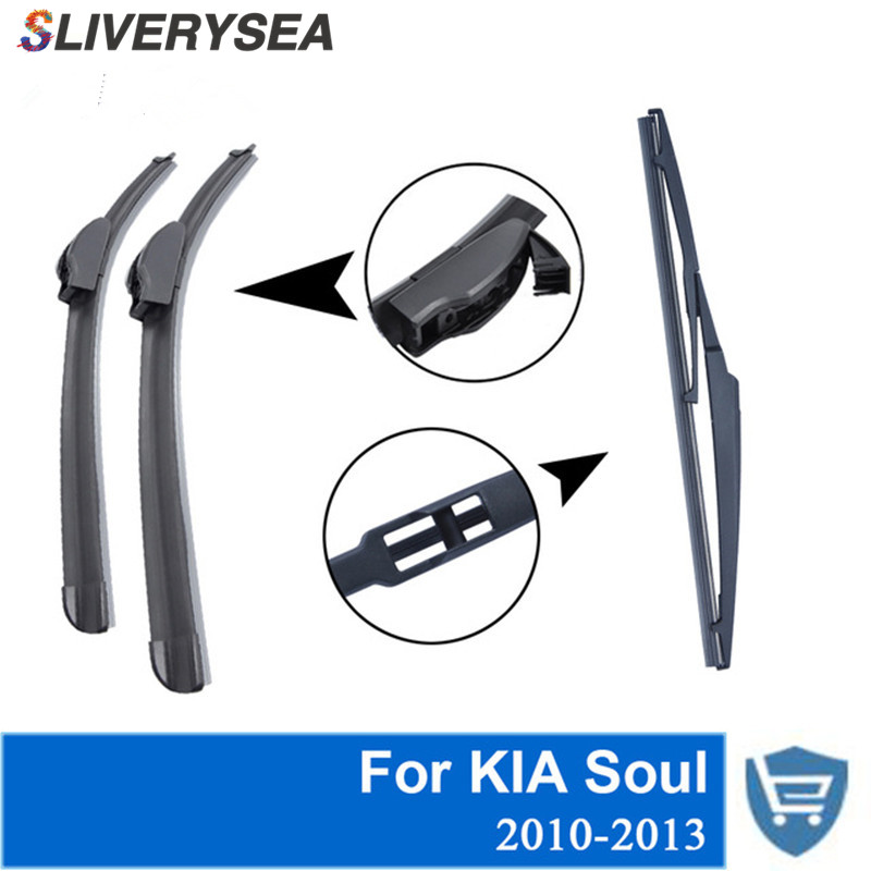 SLIVERYSEA Front And Rear Wiper Blade No Arm For KIA Soul 2010-2013 High Quality Natural Rubber Windscreen 24''+20''
