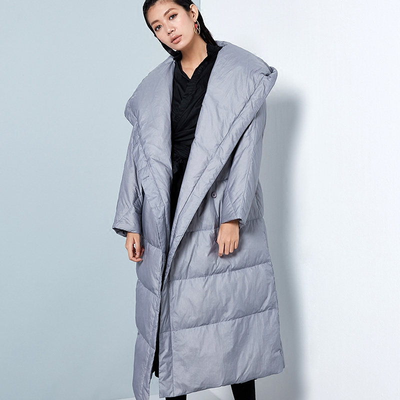 2018 New Female Fashion Down Coat Loose Down Jacket Woman Winter Straight Down Parkas