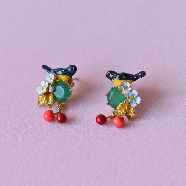 France Les Nereides Trendy Enamel Stud Earrings For Women Cherry Oriole Bird Party Accessories 2017 New Arrival Top Quality