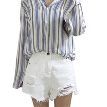 B2244 girl summer 2018 new women high-waisted student hot sale fashion hole white Denim shorts cheap wholesale(China)