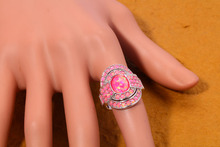 Silver Plated Luxury Large Fire Opal Finger Rings