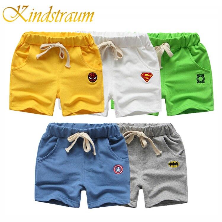 Kindstraum Kids Summer   Shorts   for Boys Casual Cotton Wear Spiderman Batman Cartoon Printed Children Sport   Short   Trousers, MC664
