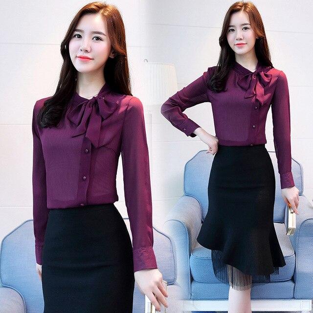 Women Chiffon Long Sleeve Blouses Feminine Bow OL Shirt New Elegant Chiffon Tops 3