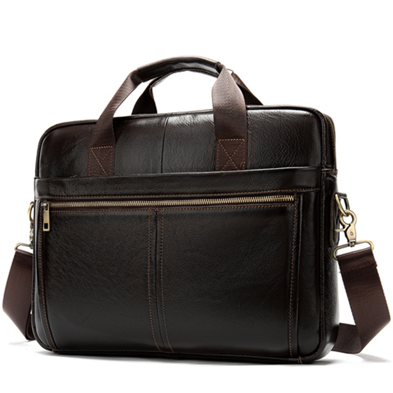 NEW-Messenger Bag Men'S Leather 14 Inch Laptop Bag Office Briefcase Business Tote Shoulder Bag Portable Handbag For Men