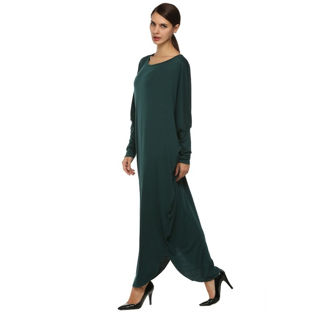 Angvns Women Casual Batwing Sleeve Maxi Dress Fashion Jersey Loose Dresses 2017 Spring Autumn Winter Long Dress Female Vestidos