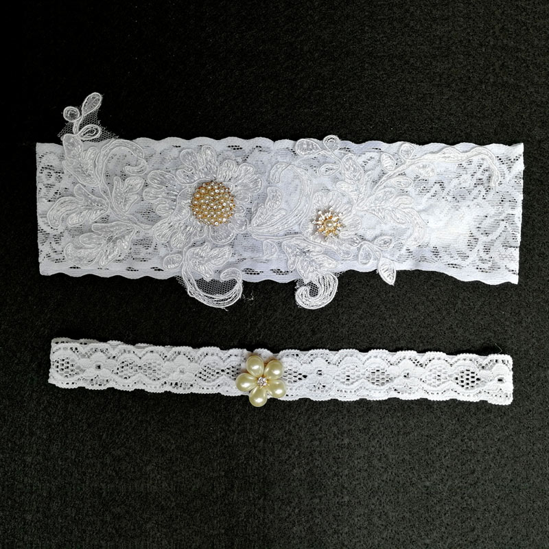 Enthusiastic Bridal Garters White Embroidery Floral Beading Rhinestone Wedding Garters For Bride 1pc/2pcs Lace/rubber Band Leg Garter Wg011 Women's Intimates Garters