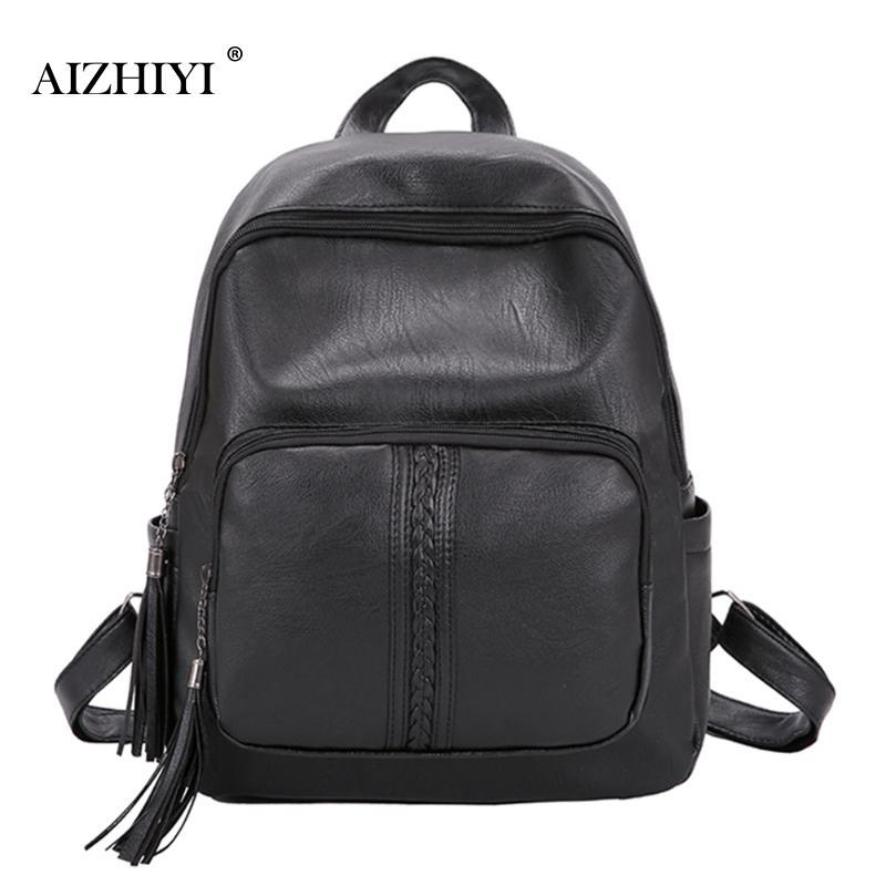 Ladies Women Soft PU Leather Crossbody Messenger Black Simple Bag Small Design Shoulder Bags College Backpack Purses 34x28x11cm
