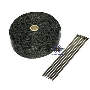"""Image 3 - 15 メートル黒排気ラップターボ熱マニホールドヘッダオートバイ排気ラップテープバイク排気グラスファイバーテープ 2 """"× 50ft"""