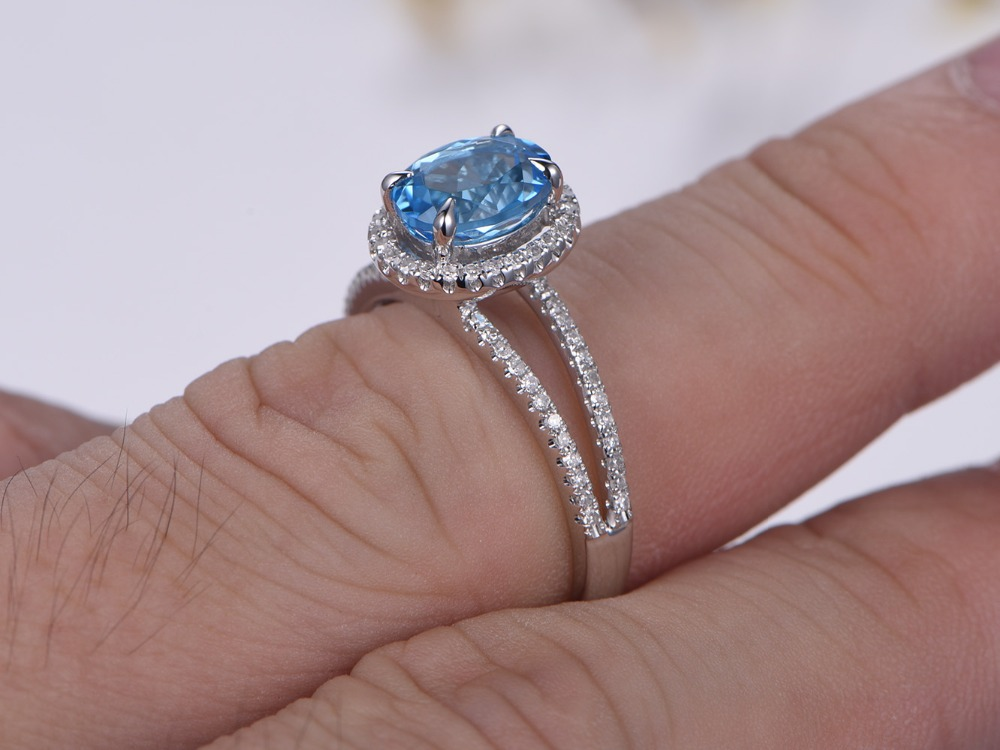Sky Blue Topaz Wedding Band 14K Rose/yellow/white Gold Engagement Ring  Anniversary Rings For Women Topaz Jewelry Party Ring In Rings From Jewelry  ...