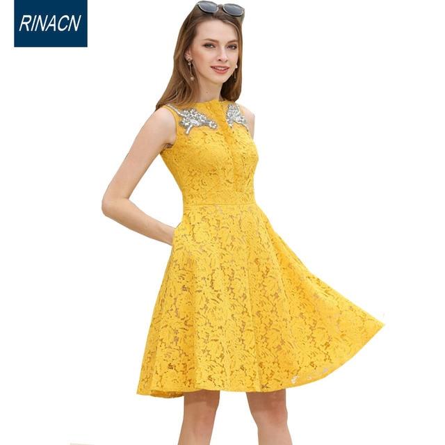 a44c9fa82d6a 2017 women dress korean fashion girl party dress yellow o neck summer  dresses cute diamonds lace sleeveless clothes brand 685