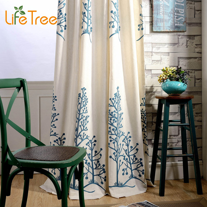 Blue Twin Trees Bordado Modern Blackout Cortina Para Dormitorio Sala - Textiles para el hogar