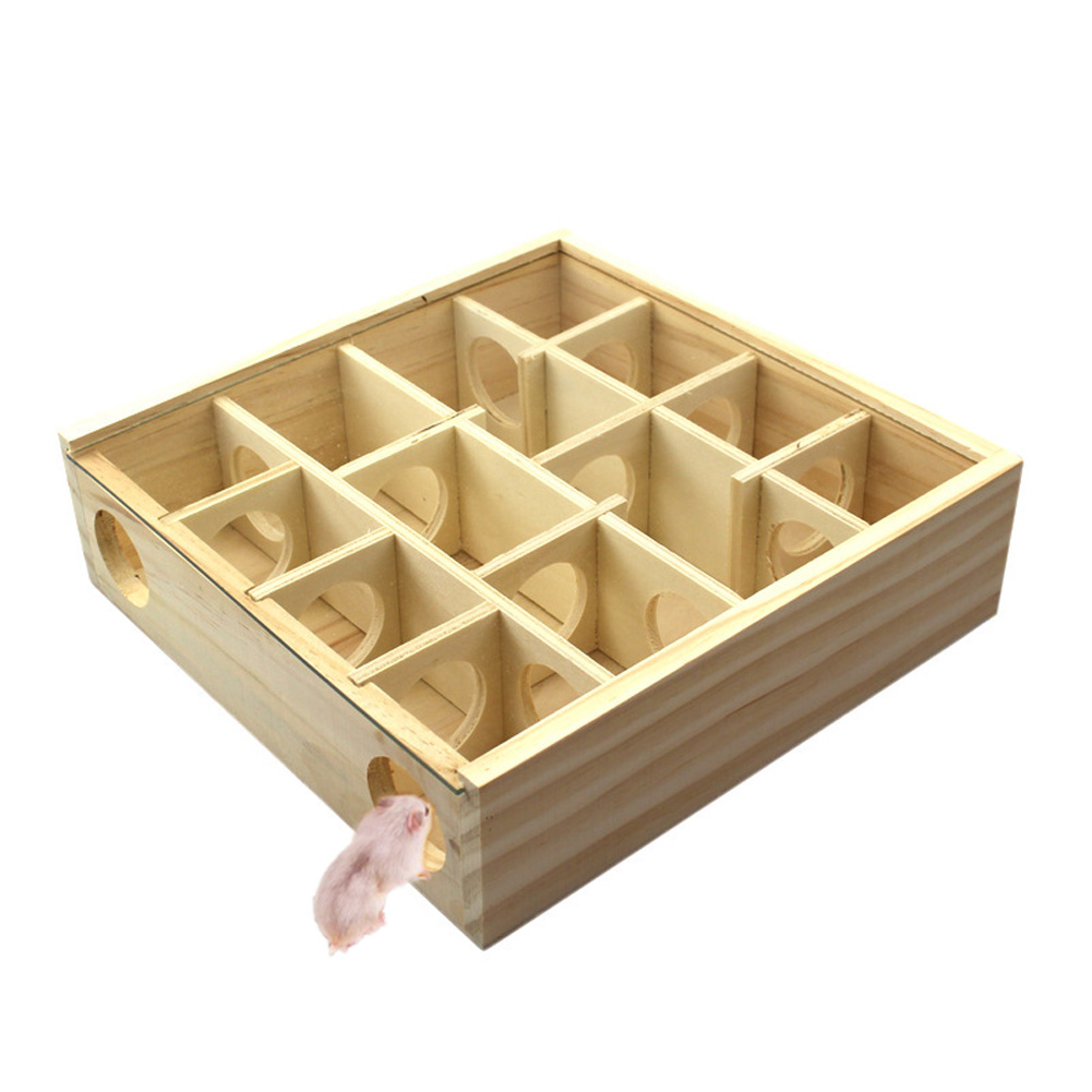 Wooden Maze Toy 13 Grids Hamster Tunnel Labyrinth House for Small font b Pet b font