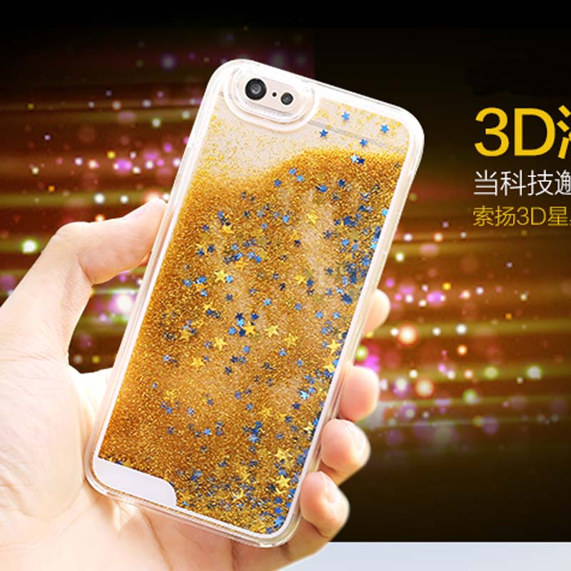 Glitter Paillette PC Veske Bling Star Timeglass Quicksand Cover Fundas Dynamic Coque For iPhone 8 7 / 6s / 6 Plus 5S 5 SE 5C 4s 4