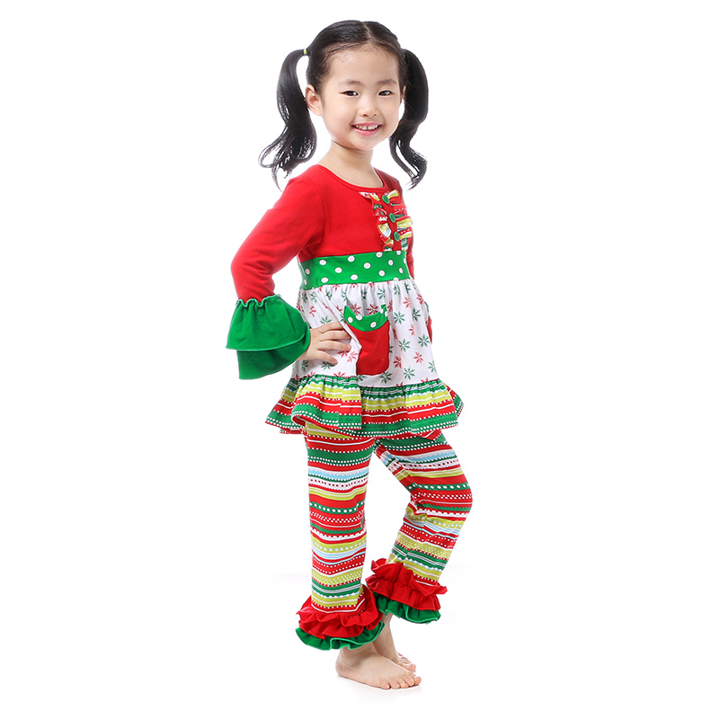 kaiya Angel Christmas Kids Clothes Toddler Girl Clothing Boutique Clothing  Winter Ruffle Rainbow OutfIts Dress Leggings Set e6c69bf933ee