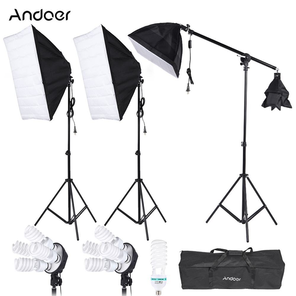 Photography Studio Lighting Kit 3pcs Softbox Tripod Stand 45W 135W Bulb Cantilever With Oxford Bag Photo Studio Lighting Kit